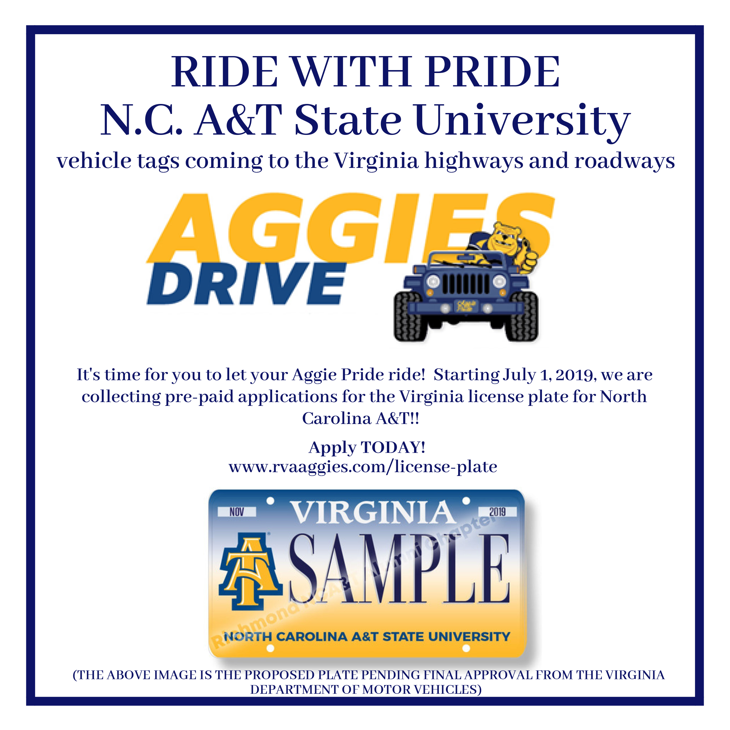 N C  A&T Collegiate License Plate in the State of Virginia